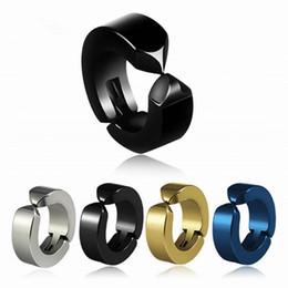 Wholesale woman hoop titanium earrings - 1Pc No Piercing Earrings Titanium Steel Hoop Earring Round Accessories Ear Clip Women Mens Punk Party Fashion Sexy