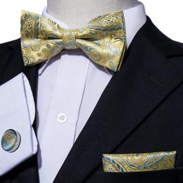 seda amarilla Rebajas Tender amarillo paisley seda bordado para hombre pajarita set con pañuelo gemelos diseñador de lujo WholesaleFreeing envío LH-0804