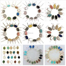 Wholesale Crystal Geometry - 10 Styles Kendra Druzy Drusy Necklace Earrings Scott Silver Gold Plated Geometry Stone Resin Necklaces Christmas gift