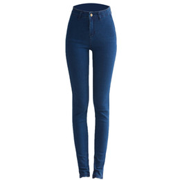 Wholesale womens denim jeans - 2018 New High Waisted Skinny Jeans Pants American Apparel Cotton Ultra Elastic Womens Long Casual Denim Jeans for Women