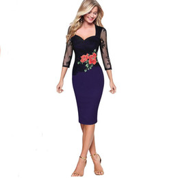 Wholesale Gorgeous Casual Dresses - 3colors woman Gorgeous Vintage Dress embroidery Rose flower Sexy V Neck Lace Top 3 4 Sleeve Zipper Club wear Casual Pencil dres