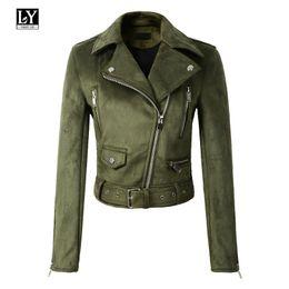 Ly Varey Lin Frauen Wildlederjacke Slim Short Zipper Design Kunstlederjacke Punk Leder Gelb Grün Jacke Outwear