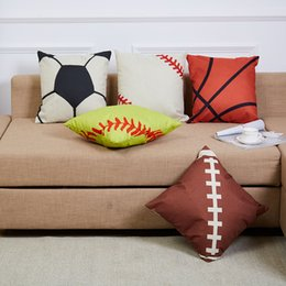Wholesale Football Bedding - New Baseball Football Pillow Case Footballs Pillow Cover Sports Home Furnishing Sofa Chair Bedding Hotel Decorative Cushion Cover 45cm*45cm