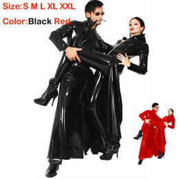 Wholesale Plus Size Leather Catsuit - Plus Size Red Black Cool Wetlook PVC Leather Catsuit Cloak Gothic Punk Long Coat The Matrix Cosplay Outfit Club Stage Costume