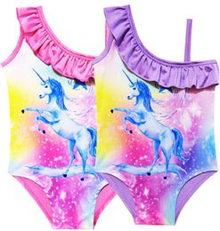 Wholesale One Piece Bra Lace - 2018 Unicorn Good Pattern Printed One Sholder Sling One-piece Swimsuit Baby Girl Clothes Pink Lace Bra Briefs Beach Swimwear Kids Clothing