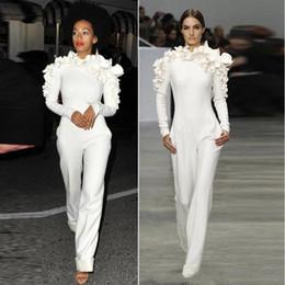 0ceabb2483d white party jumpsuit dresses Coupons - 2018 New White Jumpsuit Evening  Dresses Long Sleeves High Neck