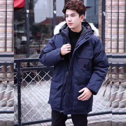 down jacket blue Coupons - Canada Warm Manteau Fur Hooded Thick Winter Men Goose Down Jacket for Canada Male Chaquetas Overcoat Man Outwear Parka