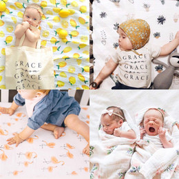 Wholesale Rose Print Bedding - Muslin Baby Print Blankets Rose Fruits Floral Bedding Infant Swaddle Towel For Newborns Swaddle Blanket 3 colors AAA534