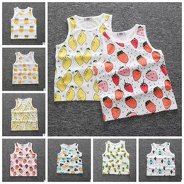 Wholesale Toddler Boys Halloween Shirts - Kids toddler boys girls tank vest tops fruit watermelon pineapple printing kids baby T shirt summer sleeveless shirts KKA4053