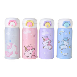 bottiglie d'acqua per bambini Sconti Bottiglie d'acqua per bambini in acciaio inox isolato Cute Cartoon Animal Unicorn Vacuum Water Bottles 12 oz Kids Bottle