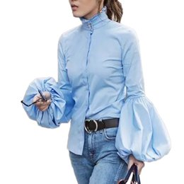 Camicette semplici online-Lady Wide Lantern Sleeve Blue Blouse 2018 Spring Autumn Fashion Stand Colletto Manica lunga Camicie semplici Office Lady Elegant Tops Streetwear