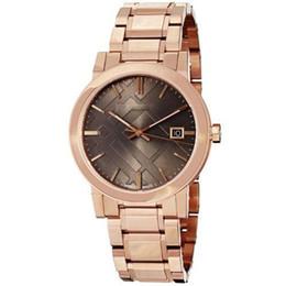 Унисекс швейцарский розовый золотой тон BU9005 большая проверка Rosetone швейцарский Браслет из нержавеющей стали часы 38 мм с коробкой от