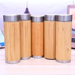Wholesale Wooden Coffee Mugs - 2018 new Bamboo Tumbler Stainless Steel Water Bottle Vacuum Insulated Coffee Travel Mug with Tea Infuser & Strainer 16oz wooden bottle