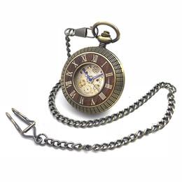 Wholesale number hands - Double Roman Number Bronze Tone Hollow Case Hand Wind Mens Mechanical Pocket Watch w Chain Fob Watch Reloj De Bolsillo New