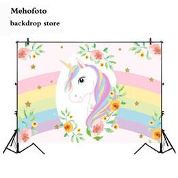 Fondo de tela de vinilo online-Mehofoto Unicorn Photography backdrops Newborn Baby Shower Photo Background para Booth Studio Rainbow Vinyl Cloth 860