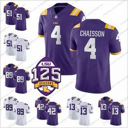 NCAA LSU Tigers  4 K Lavon Chaisson 51 Seth Stewart 42 Aaron Moffitt 13  Jontre Kirklin 89 Jonathan Giles 125th College Football Jersey S-3XL 8a19ff3e9