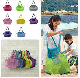 Sacos de areia de nylon on-line-Grande Capacidade Crianças sacos de praia Sand Away Beach Malha Sacola Crianças Brinquedos Shell Coletar Sacos De Armazenamento bolsas de dobrar sacos de compras