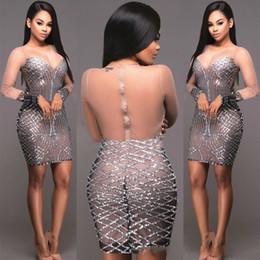 Sexy paillettes a manica lunga per donna Sparkly Sheer Mesh aderente aderente See Throuth Pencil Short Mini Dress Sparkle Club Abiti da sera Clubwear da
