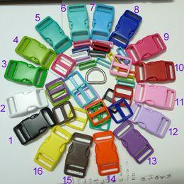 "Wholesale Plastic D Rings - 16 Sets 1"" 25mm Dog Collar Hardware Curved Side Release Buckle D Ring Set"