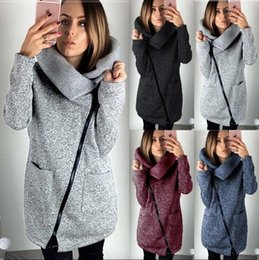 Wholesale Long Down Coat Girls - Women Side Zipper Coats Long Sleeve Hoodie Sweater Autumn Winter Casual Outwear High Collar Pullover Blouse 4 Colors OOA3931
