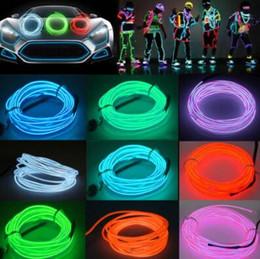2019 camping streifenlicht 5 mt Flexible Neonlicht EL Draht Weihnachtsbeleuchtung Neon Seil Glow Streifen Licht für Auto Fahrrad Party Batterie Fall Controller CCA10042 60 stücke günstig camping streifenlicht