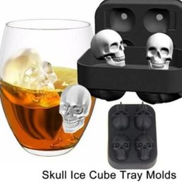 Wholesale icing pastry - Skull Shape 3D Ice Cube Mold Maker Bar Party Silicone Trays Halloween Mould Gift Chocolate Decorating Candy Pastry Mould CCA9443 50pcs