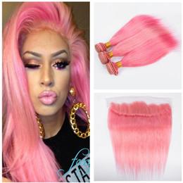 2019 светло-розовые насадки 8А светло-розовый пучки человеческих волос с лобной парик розовый цвет волос пучки с кружева фронтальная Девы волос розовый скидка светло-розовые насадки