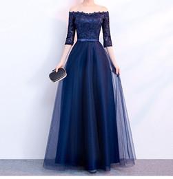 foto nua quente Desconto Elegante vestido de noite azul marinho mangas meia sem mangas plissadas Tulle Lace Top Prom Vestidos Lace-up Zipper Voltar Plus Size vestidos de noite