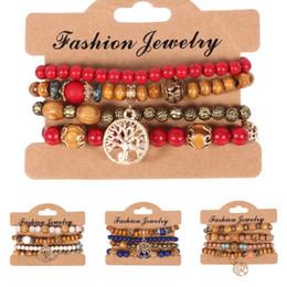 Ensemble de bijoux turquoise perles en Ligne-En gros 4pcs / set Ethnique Bohême En Bois Perles Arbre De Vie Multicouche Bracelets Bijoux Pour Femmes 6 Styles Libre DHL G427Q