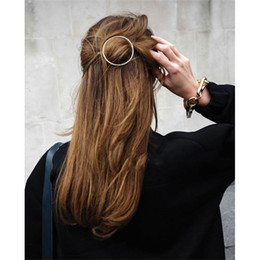 Wholesale Clip Pins - New Woman Hair Accessories Moon Circle Simply Roundness Alloy Hair Pin Clip Headdress Girls Fashion Hairgrips Barrettes 2017 New