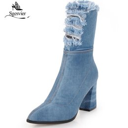 99528c46c026d Sgesvier Size 34-43 Fashion Women Half Boots Sexy Spiked High Heels Pointed  Toe Canvas Denim Shoes Autumn Winter Boots OX698