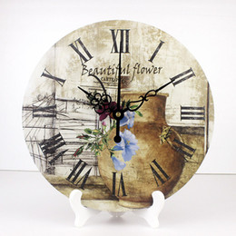 Wholesale clock table living room - wholesale fashion home decoration wall watch 12'' quiet living room table clockwaterproof clock face Pastoral style home decor