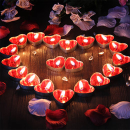 kaktus kerzen großhandel Rabatt 50 stücke / 3 * 1,1 * 1 cm Soja Kerzen Herzförmige Rote Lila Blau Soja Wachs Duftkerzen Gewachste Tabbed Tee Kerzen Hochzeit Kerze Dochte