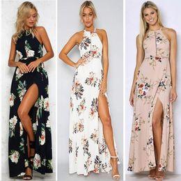 Wholesale womens long cocktail dresses - Womens Maxi Boho Floral Summer Beach Long Skirt Evening Cocktail Party Dress 2018 New