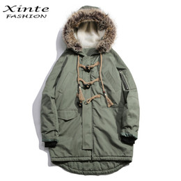 Wholesale Worsted Coat Hoods - 2017 Men Brand Winter Jackets Cotton Padded Coat with Fur Trim Hood Loose Outwear Parkas Horn Button Christmas Gift