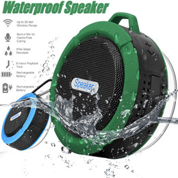 Wholesale Mini Speakers Long - Bluetooth 3.0 Wireless Speakers Waterproof Shower C6 Speaker with 5W Strong Driver Long Battery Life and Mic and Removable Suction Cup