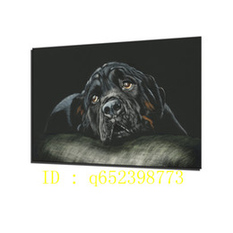 Wholesale Canvas Dog Art - Rottweiler Breed Dog Black HD Canvas Printing New Home Decoration Art Painting  Unframed   Framed
