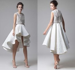 white dress yellow bodice NZ - Fashion Krikor Jabotian Lace Prom Dresses Beading Bodice Ruched Asymmetrical Skirt Two Piece White Evening Party Dresses High Low Prom Gown