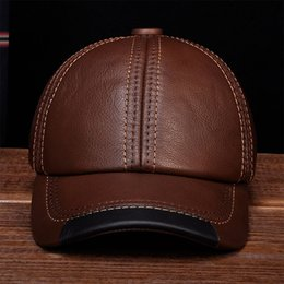 HL100 AorBrand nuevo cuero de piel de vaca real gorras de béisbol sombreros  Gorra de béisbol de cuero genuino de los hombres sombrero sombreros en venta 7c686cfc2f4