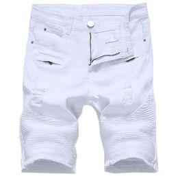 Летние мужские джинсовые шорты тонкий повседневная длина до колен короткие отверстия джинсы шорты для мужчин прямые Бермуды Masculina белый черный красный от