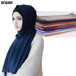 Wholesale bubble scarves - ZFQHJJ Women's Bubble Chiffon Scarf Muslim Hijab Caps Head Coverings Solid Shawls Plain Scarf Hijabs Scarves 175x75cm 20 colors