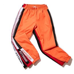 Wholesale high waist color pants - Men Casual Pants Fashion Vintage Track Pants Patchwork Color Side Stripe Male High Street Jogger Pants Elastic waist 2018