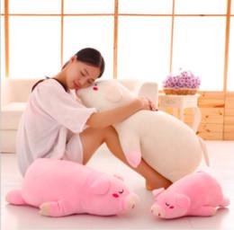 2019 almofadas de porco rosa Porco mentindo Brinquedo De Pelúcia Eiderdown Algodão Porco Macio Boneca Almofada Travesseiro Rosa Porco Stuffed Animal Presente de Aniversário desconto almofadas de porco rosa