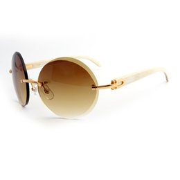 Wholesale Titanium Rimless Frames For Women - Brand Designer Sunglasses Sunglasses for Men Buffalo Horn Sunglasses Round Brown Gradient Lens White Buffalo legs Metal Frames with Box