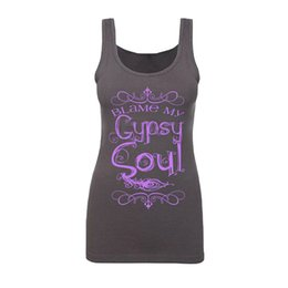 Wholesale Low Cut Tanks Xl - Women Tank Tops Summer Fashion Blame My Gypsy Soul Letter Printed Funny Graphic Tees Sexy Low Cut Sleeveless Summer Tops