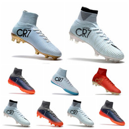 Wholesale Indoor Training - Hot Sales Original Cristiano Ronaldo Mercurial Superfly v FG CR7 Football Boots Golden Soccer Shoes mens Training Sneakers Soccer Cleats