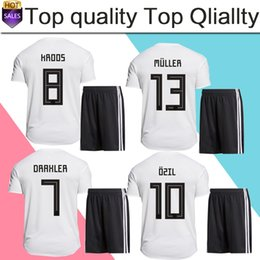 Wholesale National Uniforms - 2018 world cup #10 OZIL home Soccer Jersey suit 2018 national team soccer shirt kit#13 MULLER #8 KROOS Football uniforms jersey+shorts