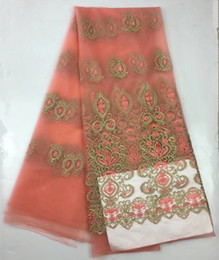 Wholesale Pink Tulle Fabric Netting - French Mesh Net Lace In pink African Swiss Voile In Switzerland Nigeria Tulle India Women Party Dress Tissu 506-12-1
