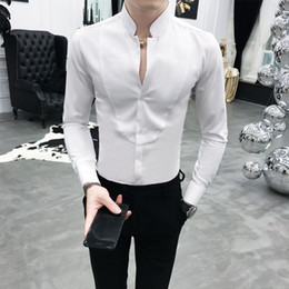 dress matching black man Promo Codes - High Quality Solid Men Shirt Brand New Slim Fit Stand Collar Dress Male Shirts Long Sleeve All Match Night Club Prom Tuxedo 3XL