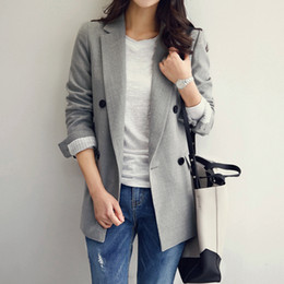 Wholesale double breasted korean suit - Autumn new casual small suit female long-sleeved jacket Korean Slim was thin wild small suit